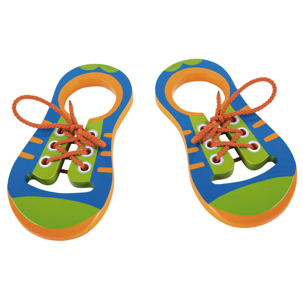 Learn to Tie Shoe Laces with Wooden Colourful Threading Shoes