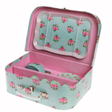 Childrens Blue Rose Picnic Box Tea Set
