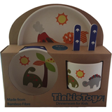 5 Piece DINOSAUR Kids Bamboo Dinnerware Set by Tinkie Toys