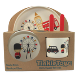 5 Piece LONDON BUS Kids Eco Friendly Bamboo Dinnerware Set by Tinkie Toys