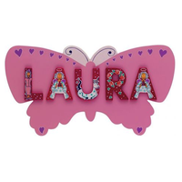 Fair Trade Girls Pink Butterfly Name Plaque (max 6 Wooden FAIRYTALE Letters)