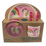 5 Piece RAINBOW UNICORN Kids Bamboo Dinner Set by Tinkie Toys