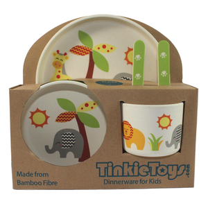 5 Piece SAFARI ANIMALS Kids Bamboo Dinnerware Set by Tinkie Toys