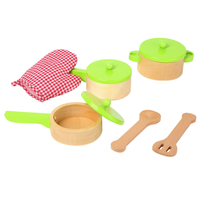 Natural Wooden Pot and Pan Cooking Set