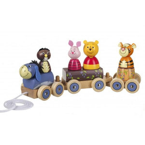 Large Wooden Winnie the Pooh Stacking Puzzle Train Toy 12 months +