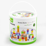 Tub of 50 Natural and Colourful Wooden Blocks by Viga