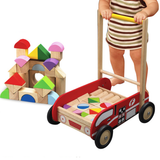 Eco Friendly Wooden Fire Engine Walker with Building Blocks