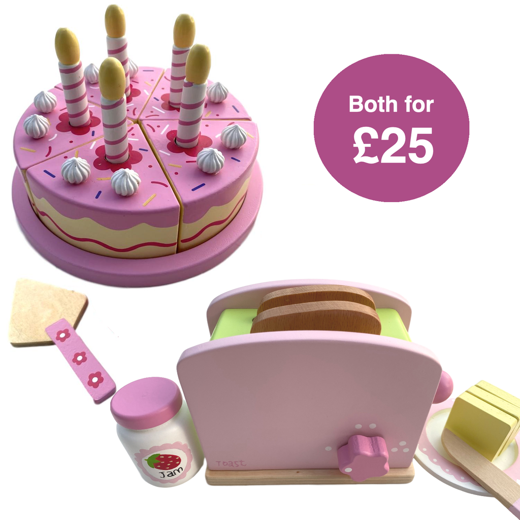 Wooden Birthday Cutting Cake & Toaster Set
