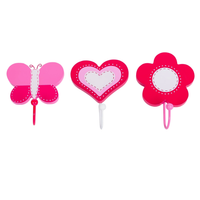 Set of 3 Gorgeous Pink Butterfly & Flower Wall Coat Hooks by Tinkie Toys