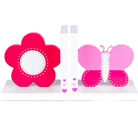 Kids Pink Flower & Butterfly White Wooden Bookends by Tinkie Toys