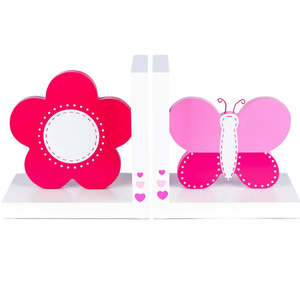 Childrens Luxury Pink Flower & Butterfly White Wooden Bookends by Tinkie Toys