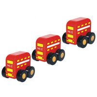 Set of 3 Mini Solid Wooden Red London Buses