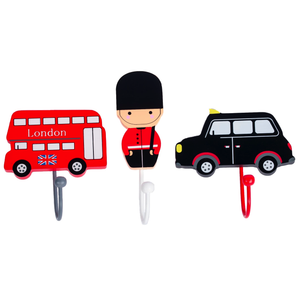 Childrens Set of 3 London Coat Hooks by Tinkie Toys: London Bus, London Guard, London Taxi