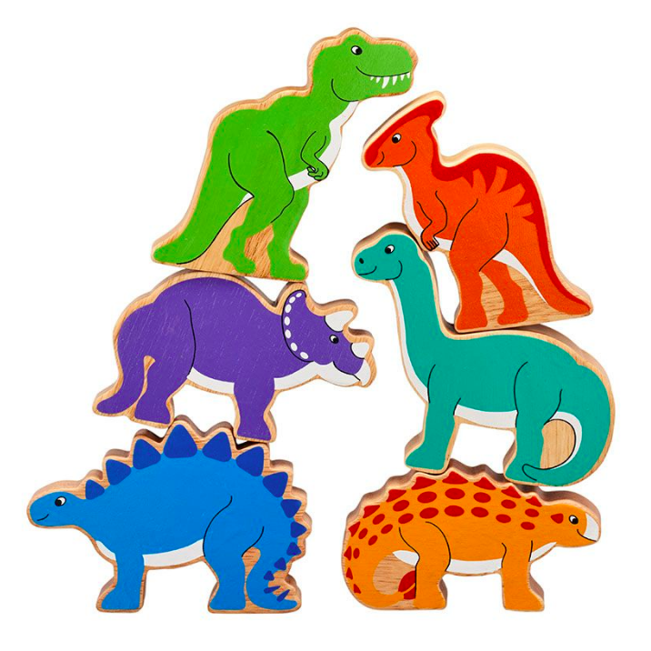 Fair Trade Bag of 6x Wooden Dinosaurs Play Set