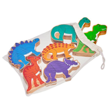 Bag of 6 Natural Wooden Toy Dinosaurs Play Set