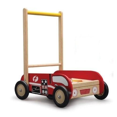 Eco Friendly Wooden Fire Engine Walker with Blocks by Wonderworld