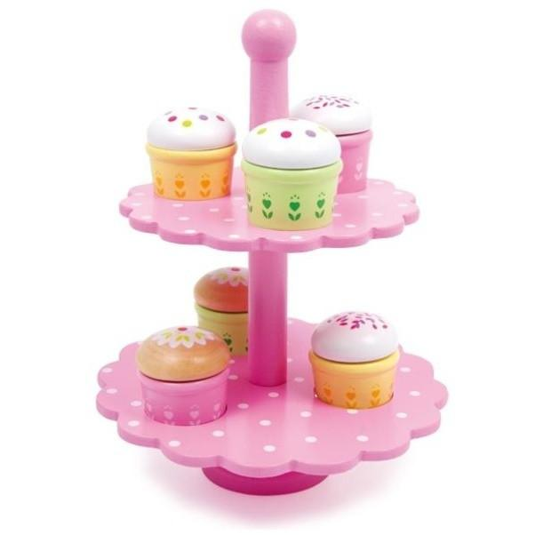 Wooden Play Food Velcro Pull-Apart Muffin Stand