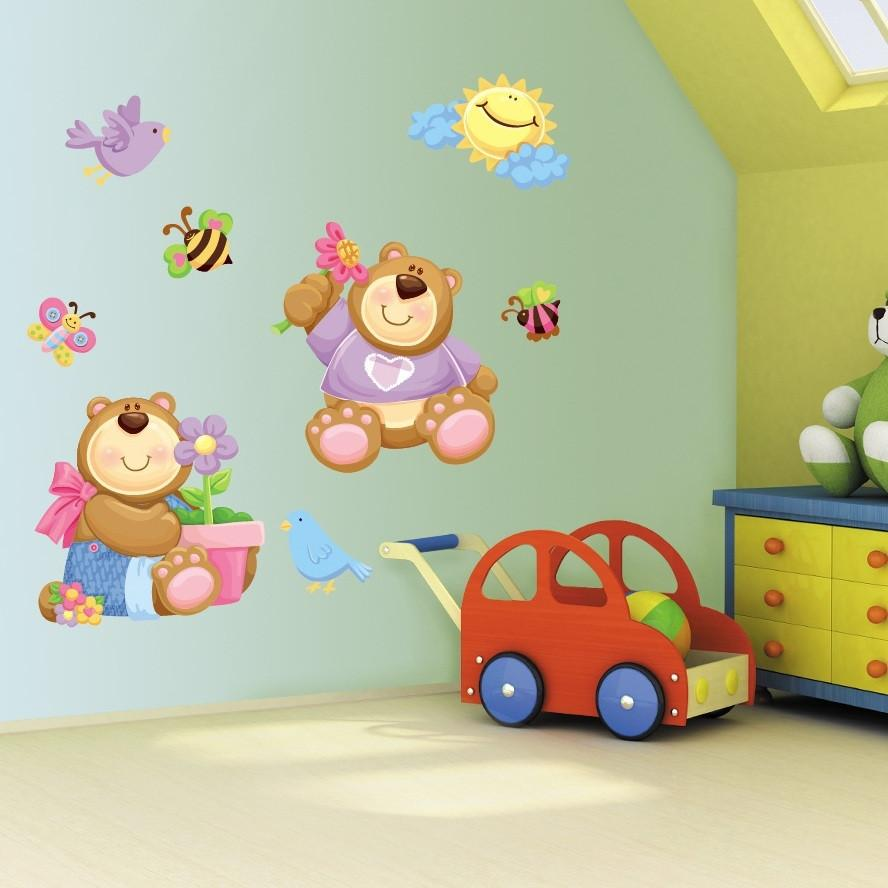 Childrens Bedroom Teddy Bear Wall Art Stickers