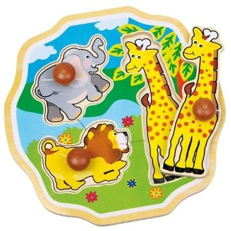 Kids Giant Peg Wooden Jungle Jigsaw Puzzle
