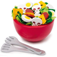 Wooden Play Food Salad Bowl & Utensils Set