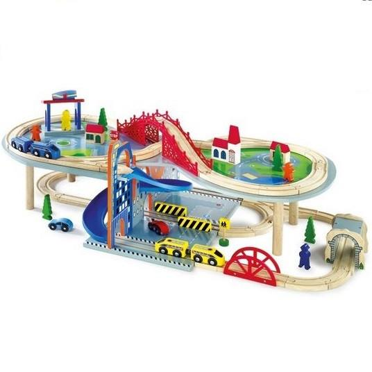 Multistorey Wooden Toy Railway Train Set