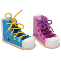 Set of 2 Wooden Colourful Threading Shoes