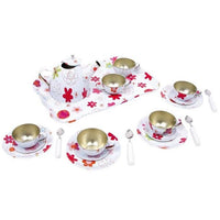 Childrens Red Flower Toy Tea Set