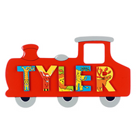 Fair Trade Small Red Train Name Plaque (with up to 5 Wooden ANIMAL Letters)