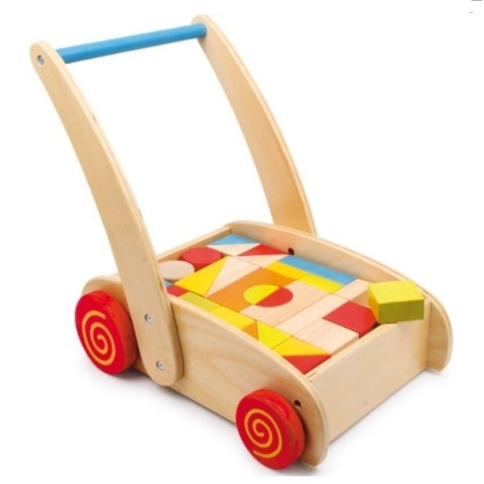 Wooden Baby Walker with 32 Colourful Building Blocks