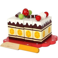 Wooden Play Food Fruit Toy Cutting Cake