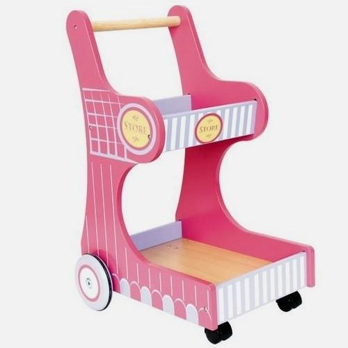 Pink Childrens Wooden Toy Shopping Trolley