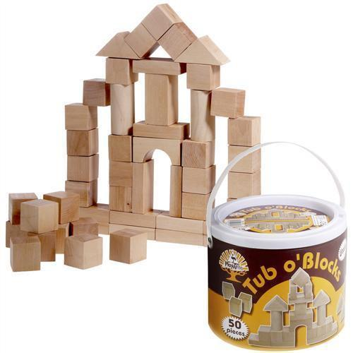 50 Mini Natural Wooden Blocks in a Tub