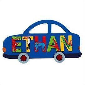 Fair Trade Car Name Plaque (with up to 5 Wooden ANIMAL Letters)