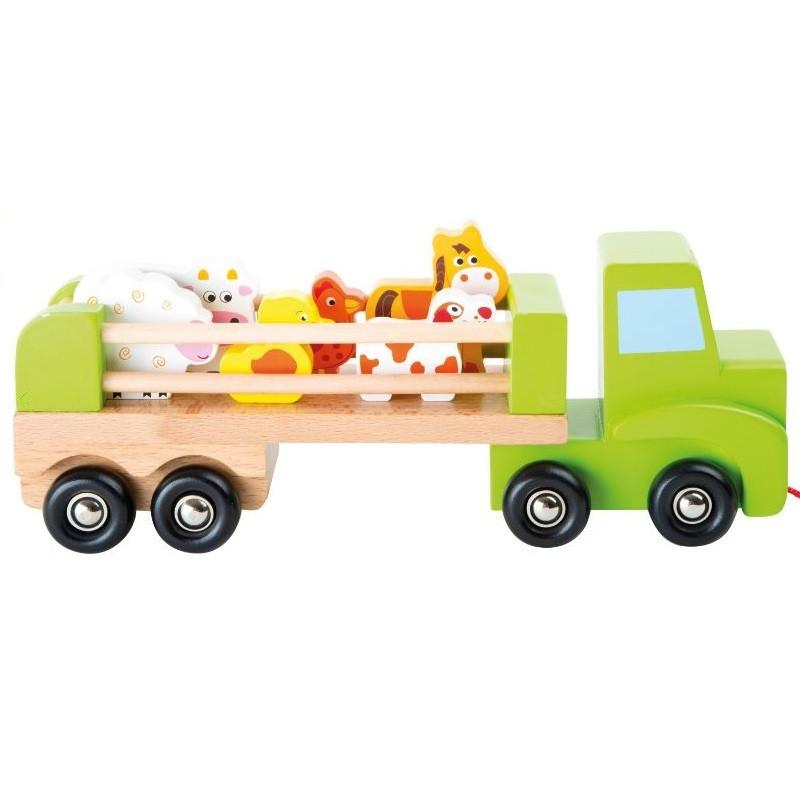 Wooden Farm Truck Transporter with Farm Animals