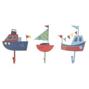 Sail Boat Set of 3x Assorted Coat Hooks