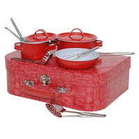 Kids Red Cooking Pots and Pans Toy Cookware Set with Utensils by Tiger Tribe