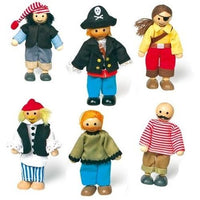 Set of 6 Wooden Bendy Pirate Dolls