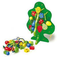 Wooden Threading Tree with Fruit, Flower & Leaf Beads