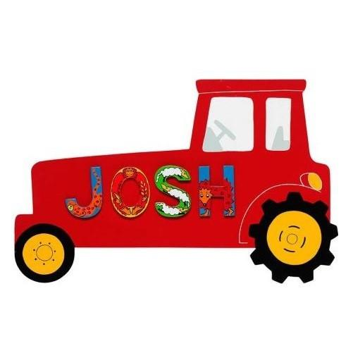 Fair Trade Red Tractor Name Plaque (with up to 6 Wooden ANIMAL Letters)