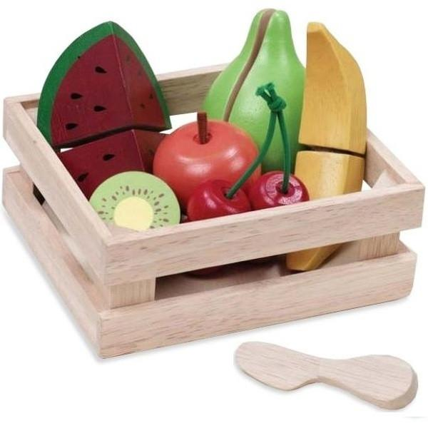 Eco Friendly Wooden Play Food: Cutting Fruit Basket by Wonderworld