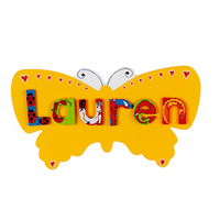 Fair Trade Yellow Butterfly Name Plaque (with up to 6 ANIMAL Letters)