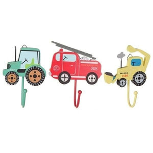 Vehicle Set of 3x Assorted Coat Hooks; Fire Engine, Digger & Tractor