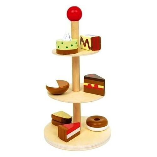 Wooden Play Food Tartlet & Cake Stand