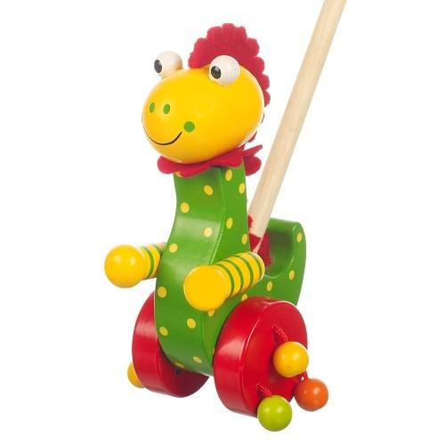 Wooden Dinosaur Push Along by Orange Tree Toys