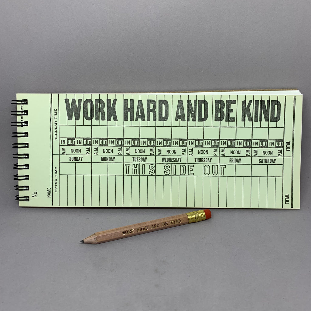 Vintage Time Card/Work Hard and Be Kind Limited Edition Sketchbook