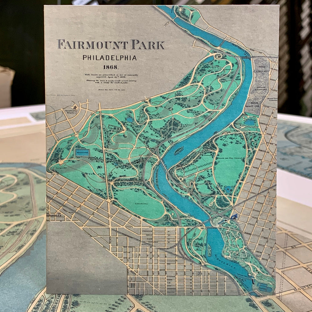 Vintage Fairmount Park Philadelphia Map Greeting Card