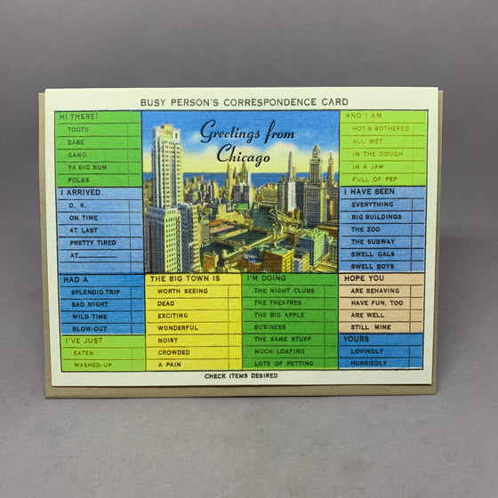 Vintage Chicago Busy Person Card