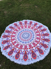 Red and Hot Pink Mandala Inspired Round Beach Towel