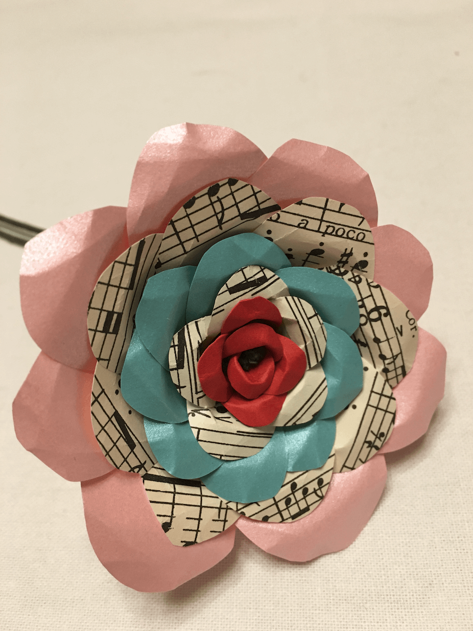 Music Note Red Blue Pink Paper Flower Rose I 595