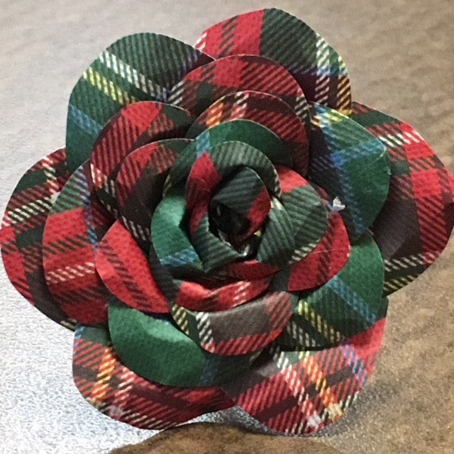 Plaid Paper Flower Rose